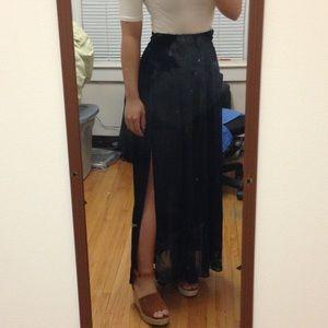Mango navy chiffon maxi skirt